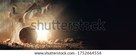 """Christian Easter concept. Jesus Christ resurrection. Empty tomb of Jesus with light. Born to Die, Born to Rise. """"He is not here he is risen"""". Savior, Messiah, Redeemer, Gospel. Alive. Miracle."""