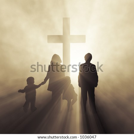 christian family before a cross