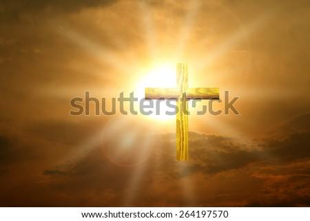 Christian gold wood cross over sunset #264197570