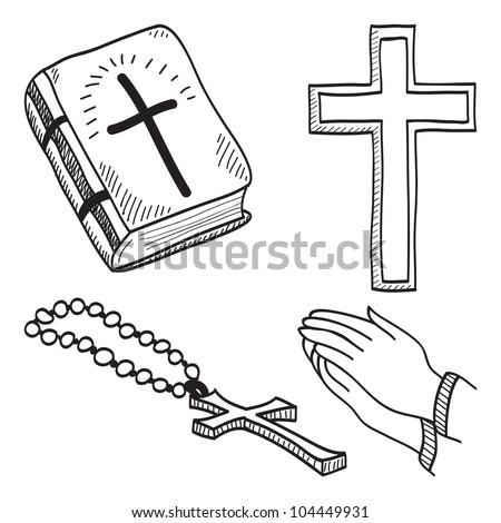 Christian hand-drawn symbols illustration - cross, bible, hands, rosary
