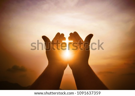 Christian man with open hands worship christian. Eucharist Therapy Bless God Helping Repent Catholic Easter Lent Mind Pray. Christian concept background. #1091637359