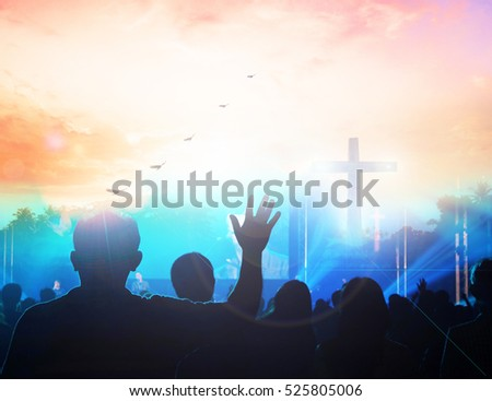 christian music concert with raised hand worship, christianity, pray, arms, sunrise, peace, adult, success, majestic, outstretched, orange, celebration, awe, summer, spiritual, praise, freedom, glow,