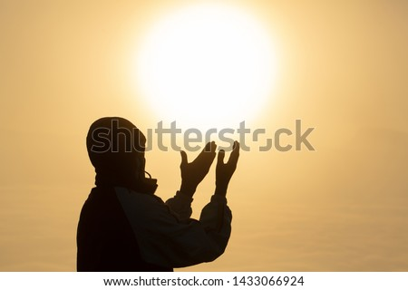 Christian Religion concept background, Human hands open palm up worship. Remembering God and gratitude, Prayer to Go. Christian Religion concept background.