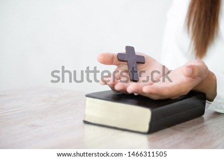 Christian Religion concept background, Human hands open palm up worship. Remembering God and gratitude, Prayer to Go. Christian Religion concept background. #1466311505