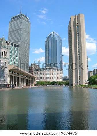 Christian Science Center reflecting pool in Boston's Back Bay.