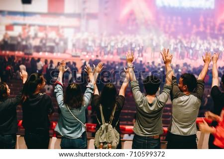 Christian worship with raised hand,music concert Stock photo ©