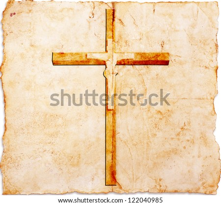 Christianity representation with the symbol of a cross on parchment