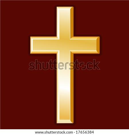 Christianity Symbol Golden Cross Icon Of The Christian Faith