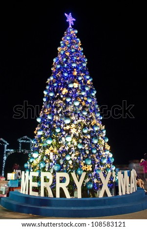 Christians celebrate New Year, often decorated with Christmas lights on the tree well. Symbol of the work is. Santa's Cross, wearing the red uniform. Welcome to the children of God.