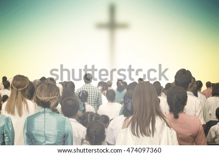 Christians prayed together church Group,Human,Cross,Praying,Worship ,