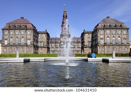 Christiansborg Palace - located in the center of Copenhagen, on the islet of Slotsholmen. Denmark
