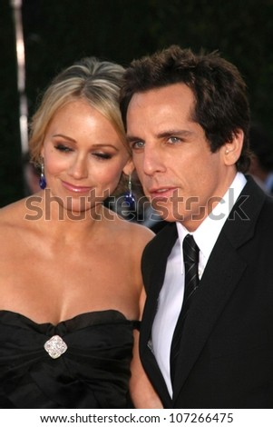 Christine Taylor and Ben Stiller  at the Los Angeles Premiere of 'Tropic Thunder'. Mann's Village Theater, Westwood, CA. 08-11-08 - stock photo
