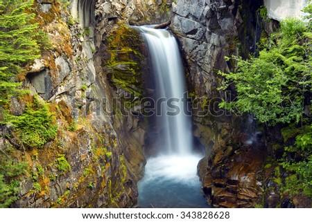 Christine waterfalls in Mt Rainier national park.