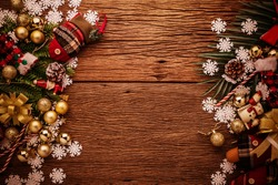 christman and newyear concept with arrange of decorating items on wooden top with free copy space for your creativity ideas text selective focused at wooden background
