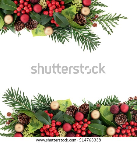 0294836ccf1e Christmas abstract background border with red and gold bauble decorations,  holly with berries, ivy