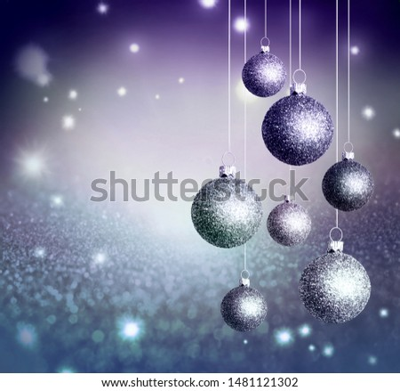 Christmas abstract background with blue glistening balls