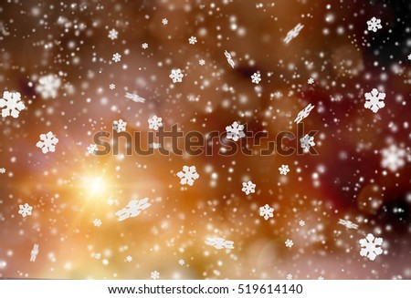 Christmas abstract bokeh background with snow flakes. #519614140