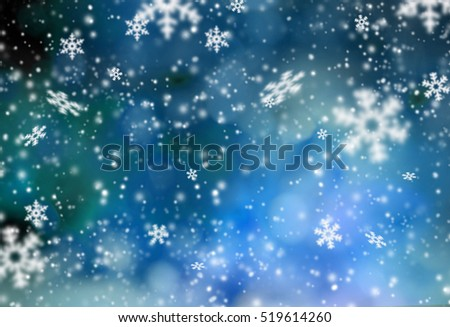Christmas abstract bokeh background with snow flakes. #519614260
