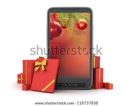 Christmas abstract illustration - cell phone and gifts