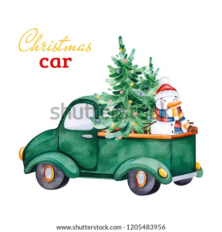 Christmas abstract retro car with Christmas tree,Snowmen and other decorations.Watercolor holiday illustration.Perfect for your Christmas and New Year project,invitations,greeting cards,wallpapers.