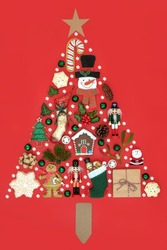Christmas abstract tree shape concept with white snowflakes, retro decorations, food, winter holly, flora and fauna. Xmas design for holiday season. On red background flat lay.