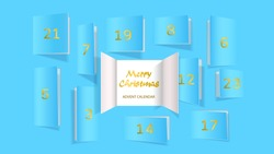Christmas advent calendar door opening. Realistic an open wide doors on light blue background. Merry Christmas poster concept. Festive vector illustration