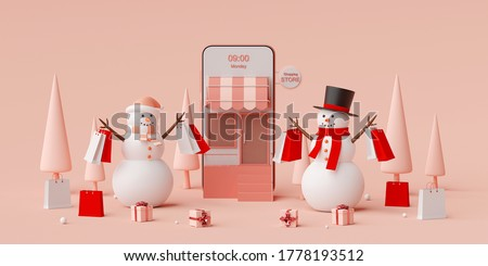 Christmas advertisement banner for web design, Snowman holding shopping bag shopping online on mobile application, 3d rendering