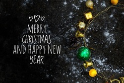 Christmas and happu new year 2019 Design with Ornamental Ball and Typography Lettering on Black Background. with Special Offer Typography Elements for Coupon, Voucher, Banner, Flyer.