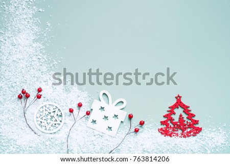 Christmas and Happy new year decoration with wooden white toys, balls, stars, gift box and snowflakes, top view. Christmas card #763814206