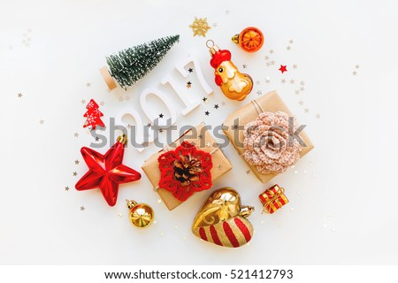 Christmas and New Year 2017 background with decorations, shaped as a circle. Symbol of year - Fire Rooster. #521412793