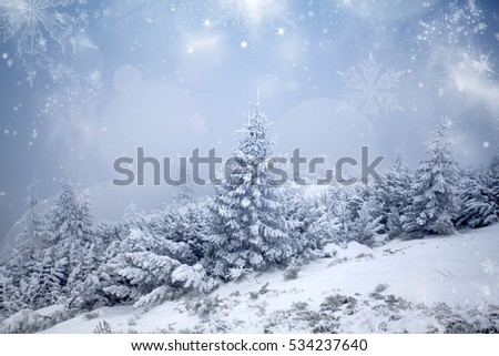 Christmas and New Year background with winter trees in mountains covered with fresh snow - Magic holiday background #534237640