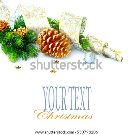 christmas and new year blue color decoration isolated on white background border art design with