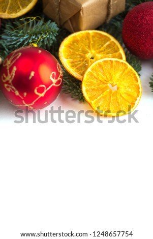 new christmas and new year border design on the white background with fir tree and orange dry