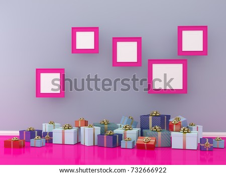 Christmas and New Year concept picture frame with gift box set on pink room interior background. for copy space and website. minimal concept.  Merry Christmas card. photography image.