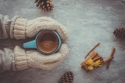 Christmas and New Year cozy holiday composition with cinnamon, woman hands in mittens, pine cone, mugs with cocoa or chocolate on the gray concrete background. Flat lay, top view