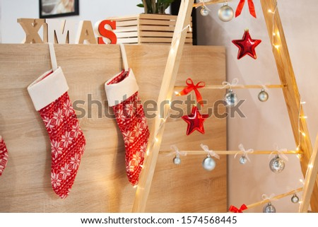 Christmas and New Year decor, wooden decor, wood cut, red-white style, gifts. #1574568445