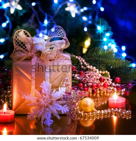 Christmas and New Year Decoration over black