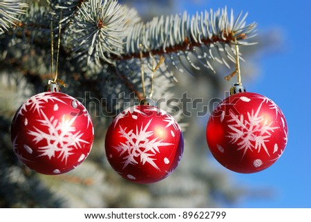 Christmas and New Year decoration - red balls on forest background