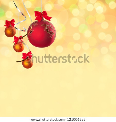 Christmas and New Year festive background with balls, place for holiday text #121006858