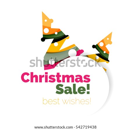 Christmas and New Year geometric banner with text. illustration #542719438