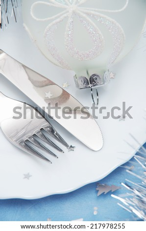 Christmas And New Year Holiday Table Setting-Holiday decoration