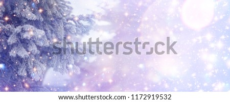Christmas and New Year holidays background, greeting card.  Glitter lights backdrop. Winter season. Text space. Closeup of Christmas-tree. Elements of this Image Furnished by NASA.