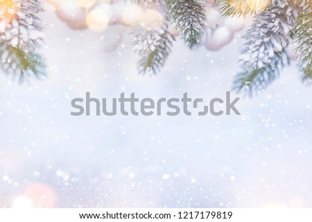 Christmas and New Year holidays background, winter season. Christmas greeting card #1217179819