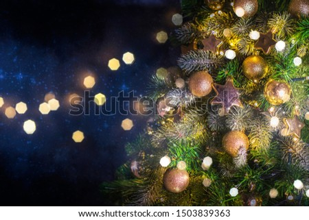 Christmas and New Year holidays background with christmas tree