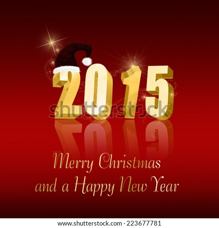 Christmas and New Year Illustration: Golden letters 2015 with a Santa hat on a red background. #223677781