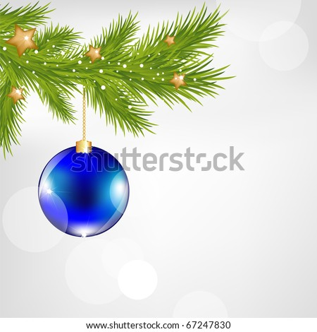 Christmas And New Year Illustration With New Year\'s Sphere And Stars