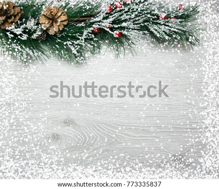 Christmas and New Year's composition. The pine cones, spruce branches on a wooden white background #773335837