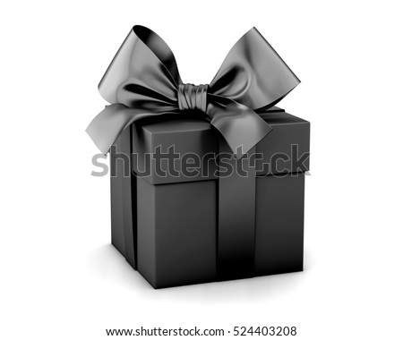 Christmas and New Year's Day , black gift box white background 3d rendering