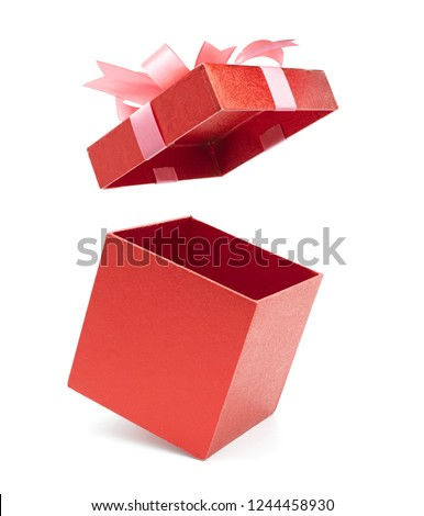 Christmas and New Year's Day ,Open red gift box white background #1244458930