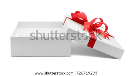 Christmas and New Year's Day , Open red gift box white background with clipping path #726719293